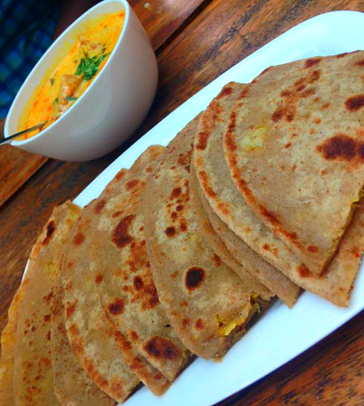 Hot Paranthas with Steaming Kadhi Pakoras