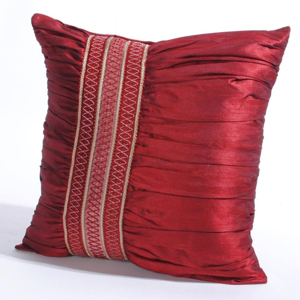 Decohome Cushion Cover broad trim ruffel red Price 399